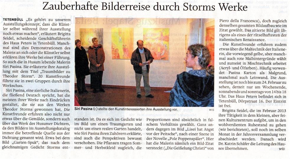 Husumer Nachrichten, 8.1.2013, Siri Pasina
