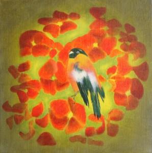 Der Dompfaff von Siri Pasina, Öl/Leinwand, 30 x 30 cm, 2010