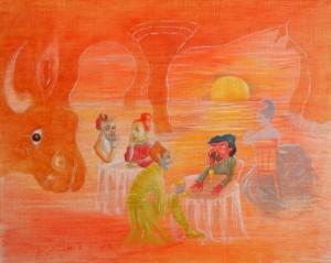 Der Stempel des Unbehaglichen von Siri Pasina, Öl/Leinwand, 2010, 40 x 50 cm