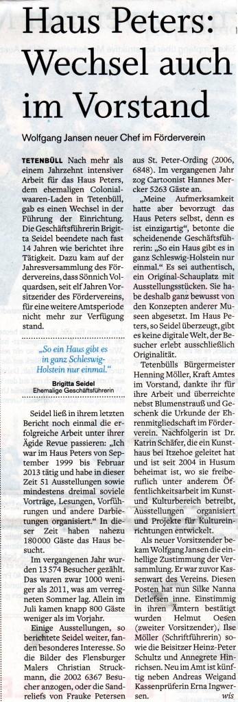 Husumer Nachrichten, 25.2.2013