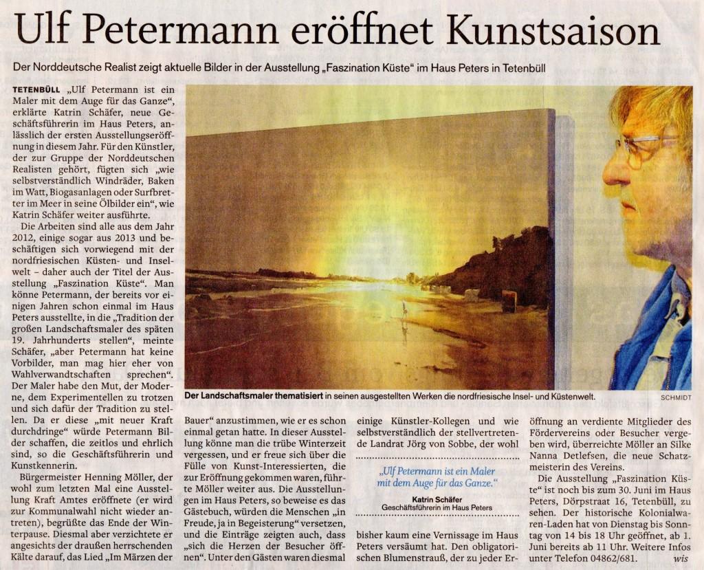 Husumer Nachrichten, Petermann, Haus Peters, Ausstellung, Faszination Küste