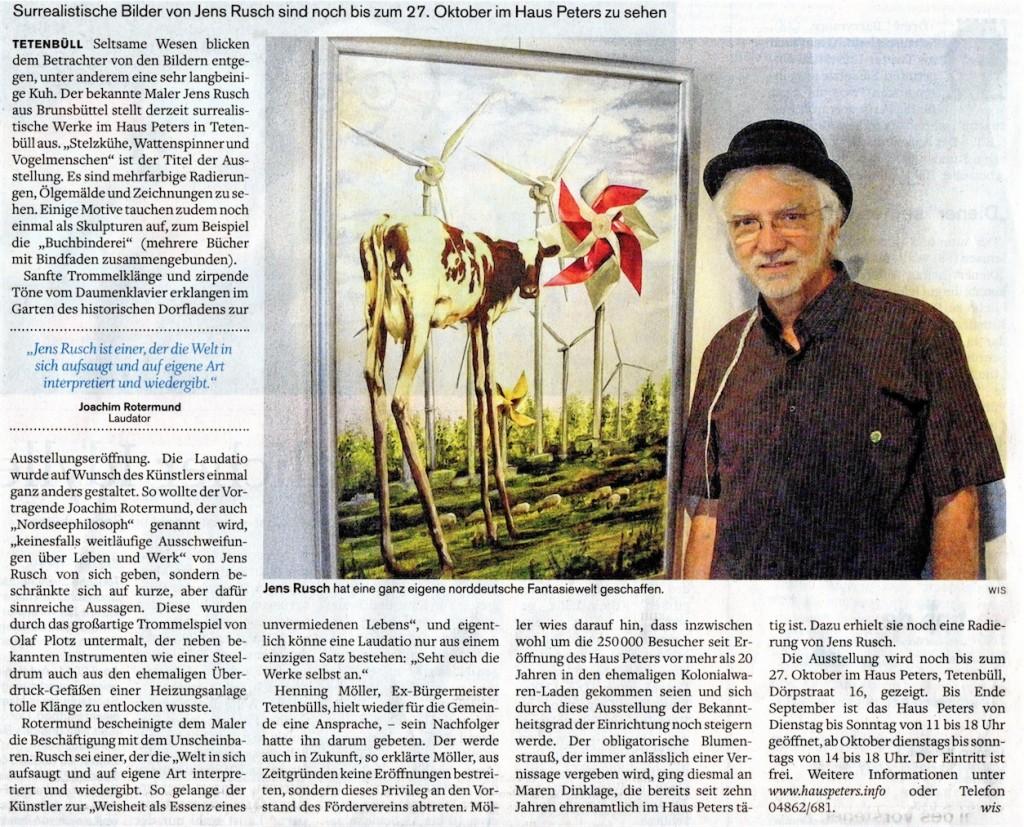 HusuHusumer Nachrichten, 22.8.2013; Jens Rusch, Wattspinner, Vogelmenschen, Stelzenkühe