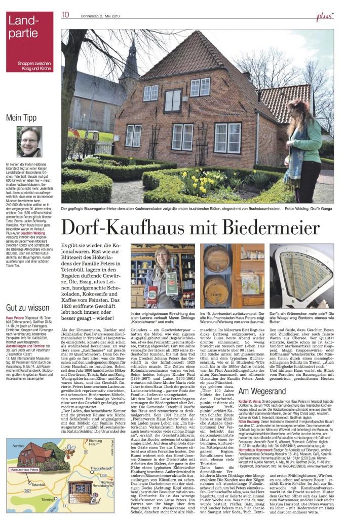 Kieler Nachrichten, 2. Mai 2013, Haus Peters-Artikel