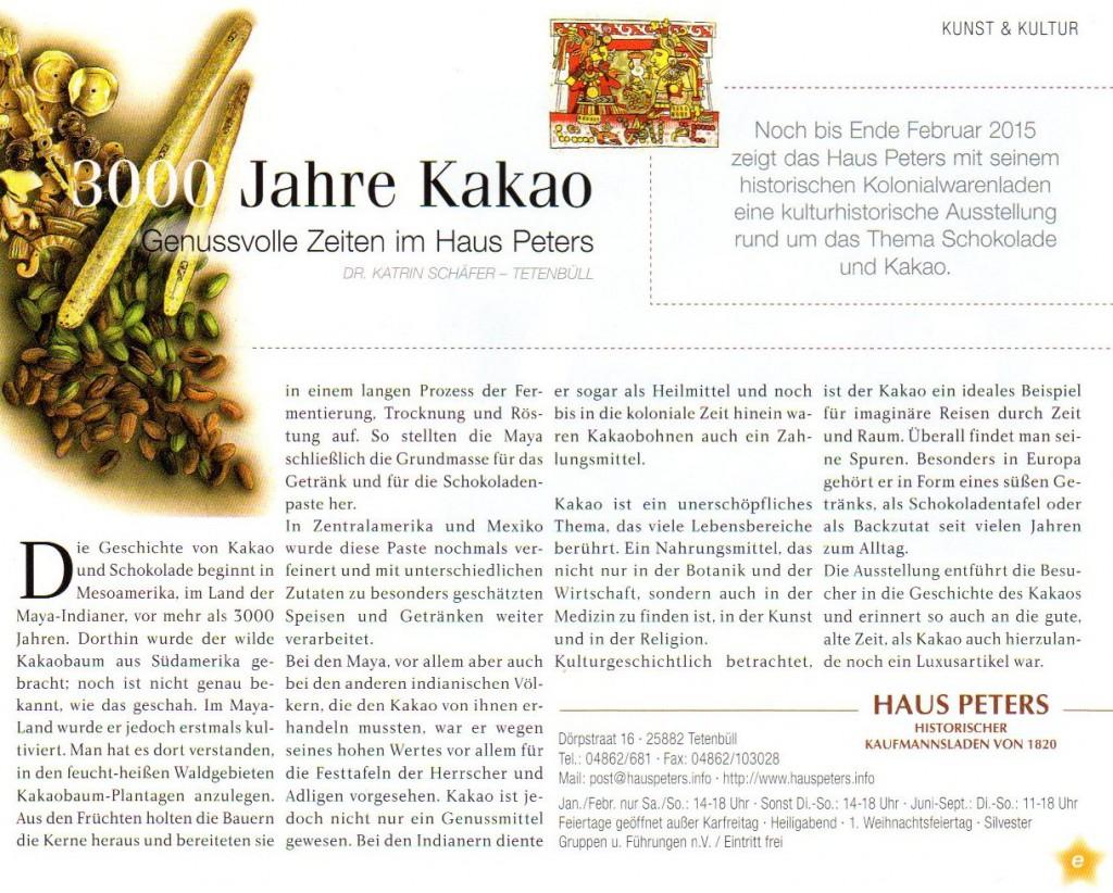 Strandpost Dezemberausgabe 2014, 3000 Jahre Kakao Haus Peters