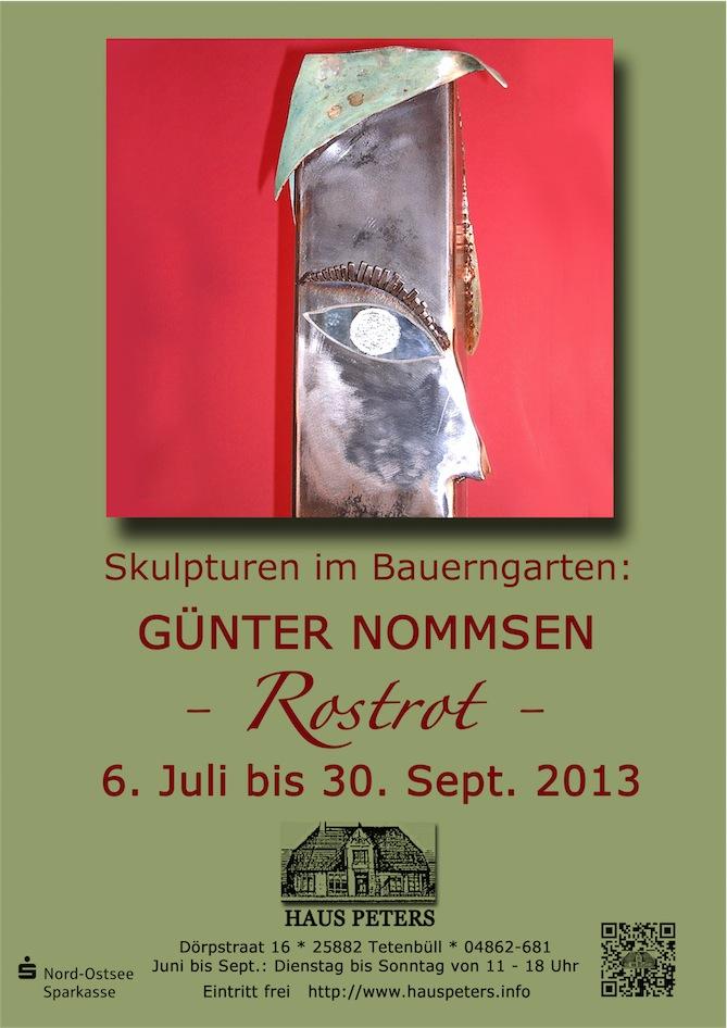 Günter Nommsen, Plakat, Rostrot, Bauerngarten, Skulptur